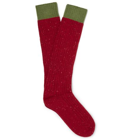 gucci male gucci melange woolblend socks red