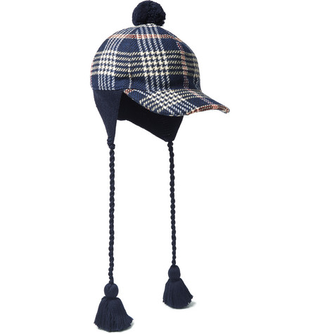 gucci male 236621 gucci tasselled checked cotton cap navy