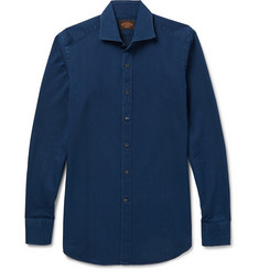 Tod's - Cutaway-Collar Garment-Washed Cotton-Twill Shirt