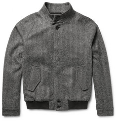 Tod's Herringbone Virgin Wool-Blend Bomber Jacket