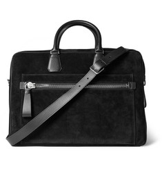 TOM FORD Leather-Trimmed Suede Briefcase