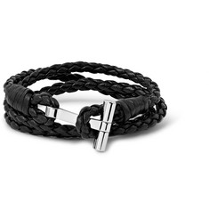 Tom Ford - Woven Leather and Palladium-Plated Wrap Bracelet