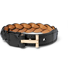 Tom Ford - Woven Leather and Gold-Plated Bracelet