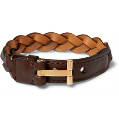 Tom Ford Woven Leather and Gold-Plated Bracelet