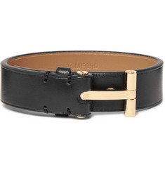 TOM FORD - Leather and Gold-Plated Bracelet