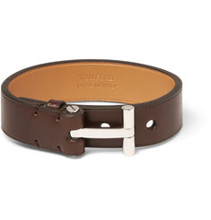 Tom Ford Leather and Palladium-Plated Bracelet