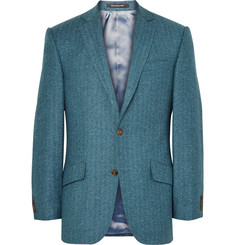 Richard James Blue Hyde Slim-Fit Herringbone Wool and Silk-Blend Blazer