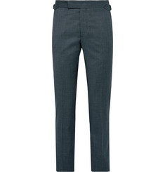Richard James Blue Slim-Fit Pin-Dot Super 110s Wool Suit Trousers