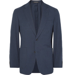 Richard James Blue Spirit Slim-Fit Gingham Stretch-Cotton Seersucker Blazer