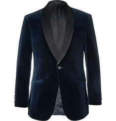 Richard James - Slim-Fit Satin-Trimmed Cotton-Velvet Tuxedo Jacket