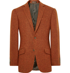 Richard James Orange Slim-Fit Harris Wool-Tweed Blazer