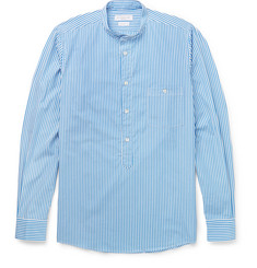 Richard James - Grandad-Collar Bengal-Striped Cotton Shirt