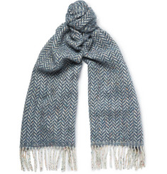 Richard James Herringbone Wool and Cotton-Blend Scarf