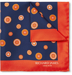 Richard James Compass-Printed Silk-Twill Pocket Square