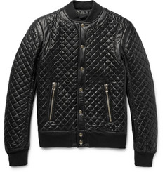Balmain Quilted Leather Bomber Jacket