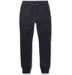 Balmain Panelled Skinny-Fit Cotton-Jersey Biker Sweatpants
