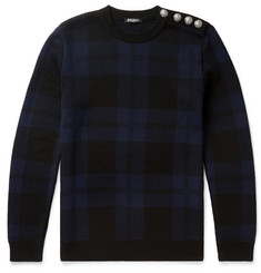 Balmain Slim-Fit Checked Merino Wool Sweater