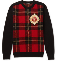 Balmain Appliquéd Intarsia Wool-Blend Sweater