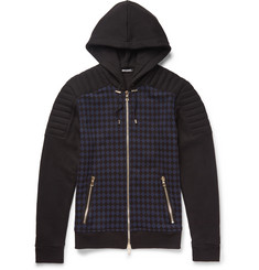 Balmain Checked Cotton-Jersey Hoodie