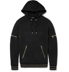 Balmain Fleece-Back Cotton-Jersey Hoodie