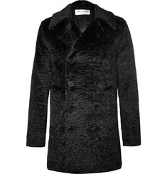 Saint Laurent Double-Breasted Faux Fur Coat