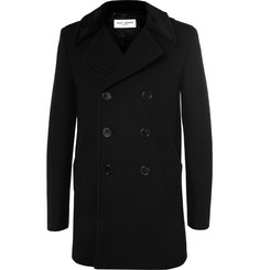 Saint Laurent Slim-Fit Velvet-Trimmed Wool-Blend Peacoat