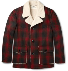 Saint Laurent Faux Shearling-Trimmed Checked Wool Jacket
