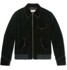 Saint Laurent Embroidered Velvet Blouson Jacket
