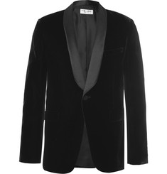 Saint Laurent Black Slim-Fit Satin-Trimmed Velvet Tuxedo Jacket