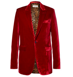 Saint Laurent Red Slim-Fit Velvet Blazer