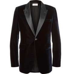 Saint Laurent Blue Satin-Trimmed Velvet Tuxedo Jacket