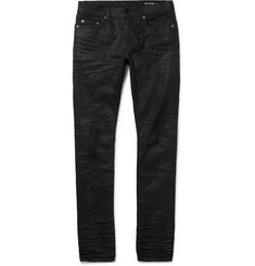 Saint Laurent Skinny-Fit 15cm Hem Crinkled Stretch-Denim Jeans