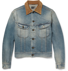 Saint Laurent Corduroy-Trimmed Washed-Denim Jacket