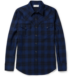 Saint Laurent Slim-Fit Checked Wool-Flannel Western Shirt