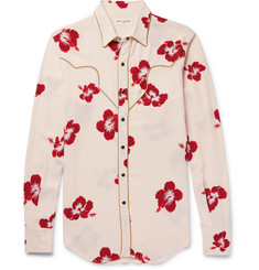 Saint Laurent Slim-Fit Penny Collar Metallic-Trimmed Floral-Print Crepe Shirt