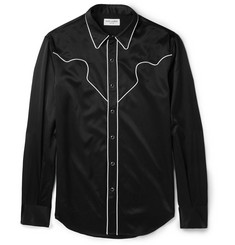 Saint Laurent Slim-Fit Contrast-Trimmed Satin Western Shirt