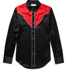 Saint Laurent Slim-Fit Contrast-Panelled Silk Western Shirt
