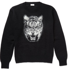 Saint Laurent Tiger-Intarsia Mohair-Blend Sweater