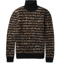 Saint Laurent Striped Leopard-Intarsia Mohair-Blend Rollneck Sweater