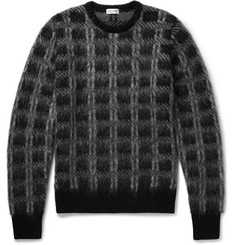 Saint Laurent Slim-Fit Checked Brushed Knitted Sweater