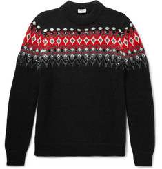 Saint Laurent Sequinned Fair Isle Knitted Sweater