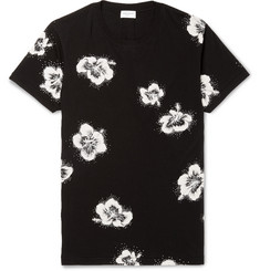 Saint Laurent Slim-Fit Glitter Floral-Print Cotton-Jersey T-Shirt