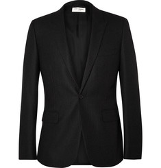 Saint Laurent Grey Slim-Fit Pinstriped Wool Blazer