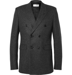 Saint Laurent Grey Double-Breasted Prince of Wales Checked Wool Blazer