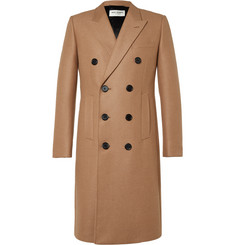 Saint Laurent Double-Breasted Camel-Blend Coat