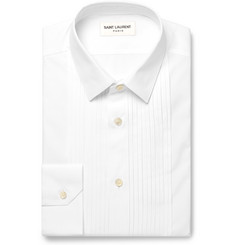 Saint Laurent White Slim-Fit Pintucked Cotton-Poplin Shirt