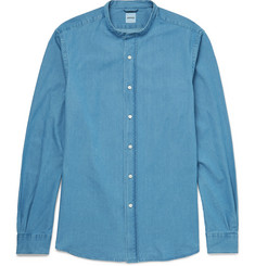 Aspesi Slim-Fit Grandad-Collar Cotton-Chambray Shirt
