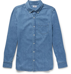 Frame Slim-Fit Button-Down Collar Denim Shirt
