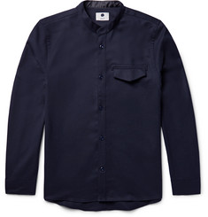 NN07 Stockholm Grandad-Collar Stretch-Wool Overshirt