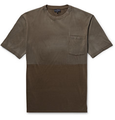 Lanvin Two-Tone Distressed Cotton-Jersey T-Shirt